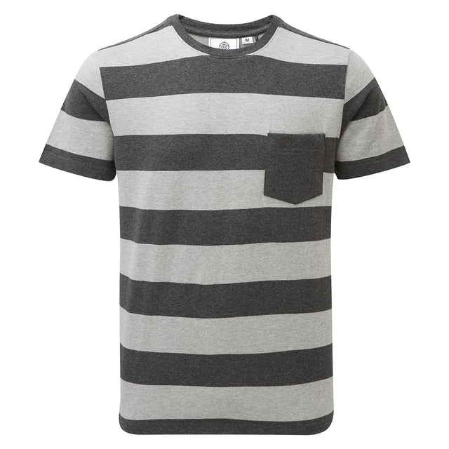 Dixon Mens T-Shirt - Dark Grey Marl Stripe image 1