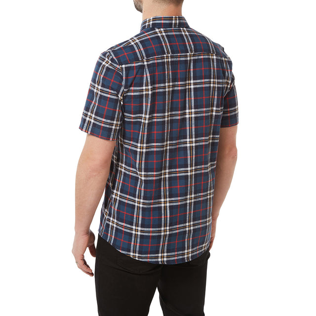 Donald Mens Short Sleeve Shirt - Navy Check image 3
