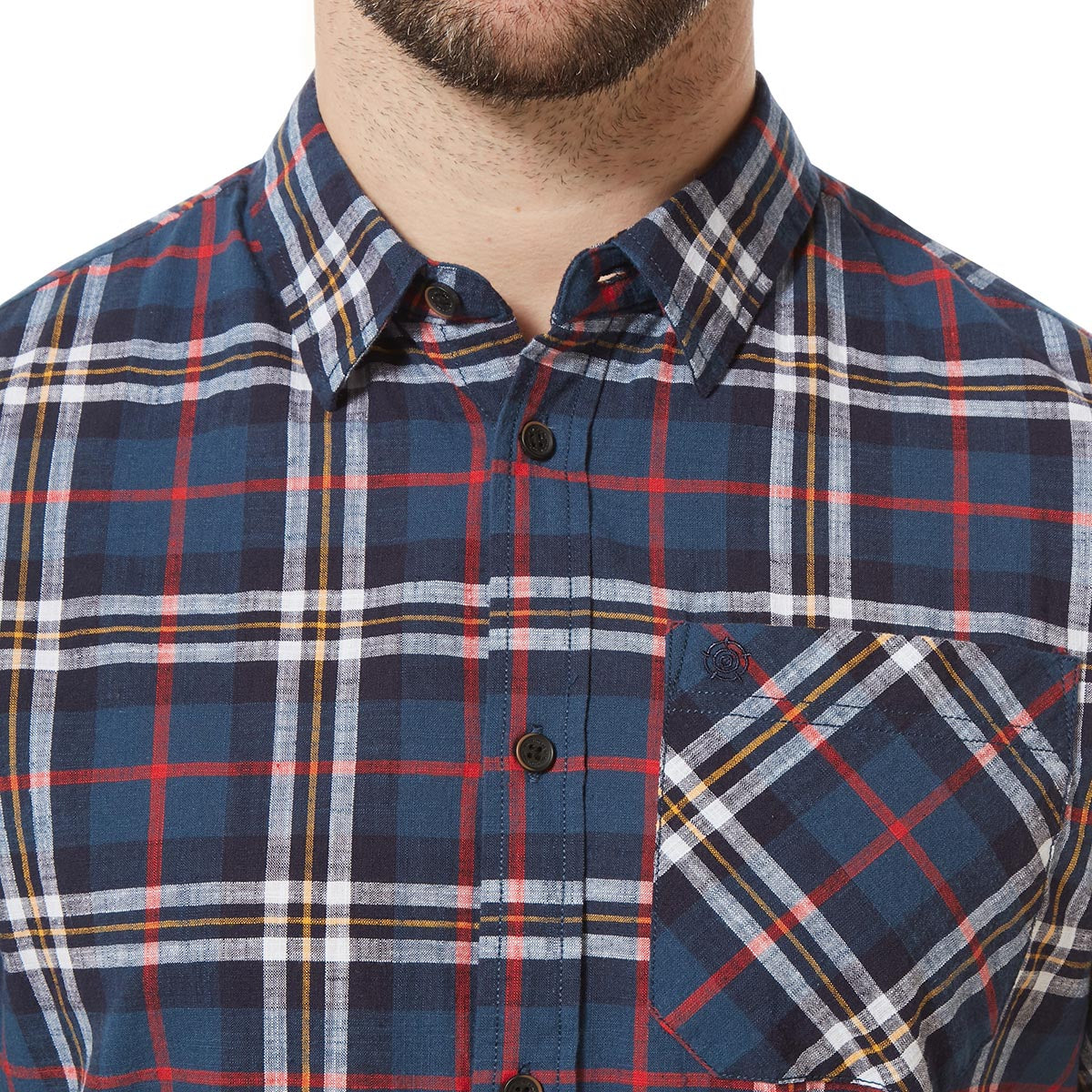 Donald Mens Short Sleeve Shirt - Navy Check image 4