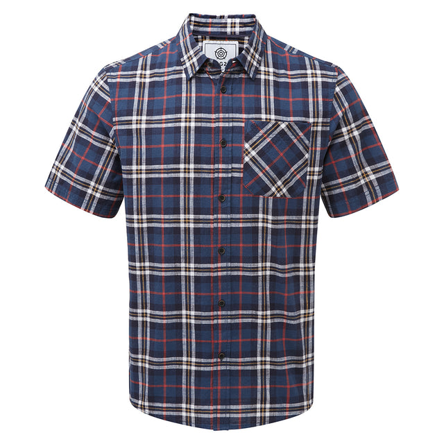 Donald Mens Short Sleeve Shirt - Navy Check image 1