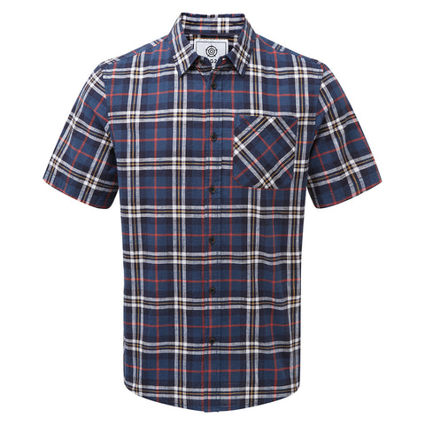 Donald Mens Short Sleeve Shirt - Navy Check