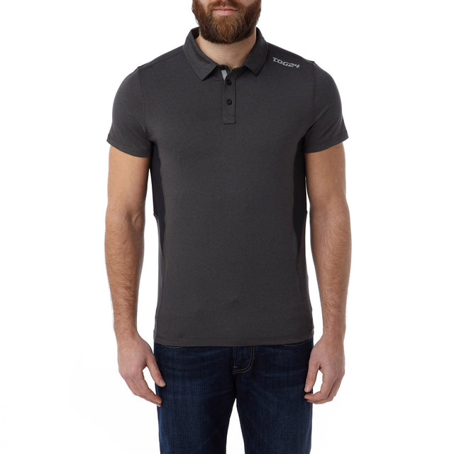 Dyno Mens TCZ Stretch Polo - Dark Grey Marl image 2