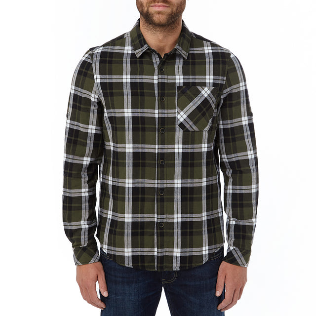 Edgar Mens Cotton Long Sleeve Shirt - Dark Khaki Check image 2