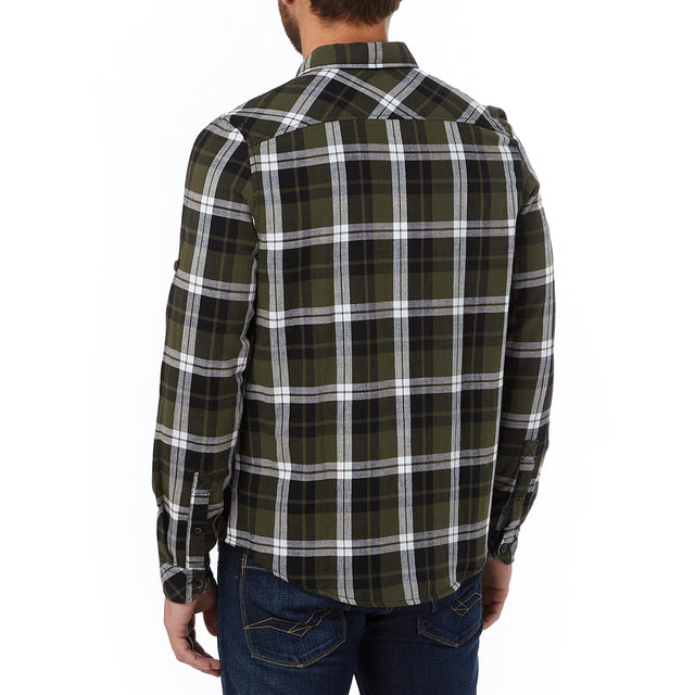 Edgar Mens Cotton Long Sleeve Shirt - Dark Khaki Check image 3