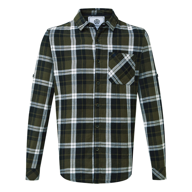 Edgar Mens Cotton Long Sleeve Shirt - Dark Khaki Check image 1