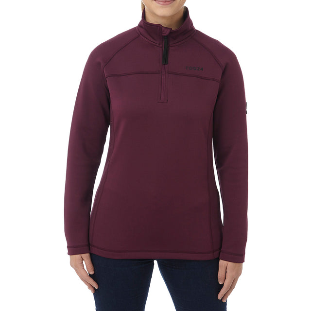 Filey Womens TCZ Stretch Zipneck - Deep Port image 2