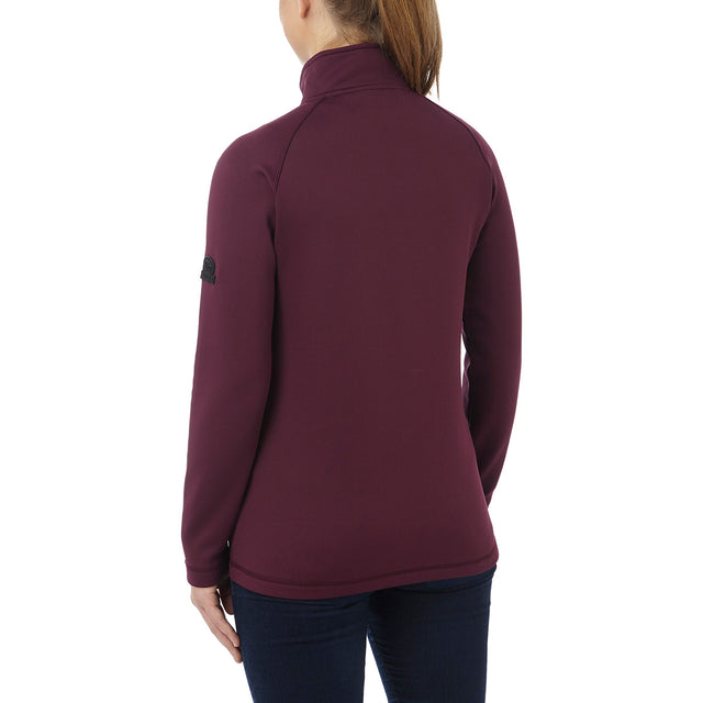 Filey Womens TCZ Stretch Zipneck - Deep Port image 3