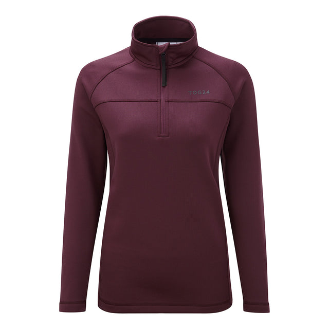 Filey Womens TCZ Stretch Zipneck - Deep Port image 1