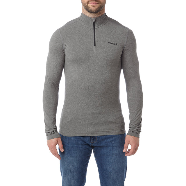 Fixby Mens Thermal Zipneck - Grey Marl image 2