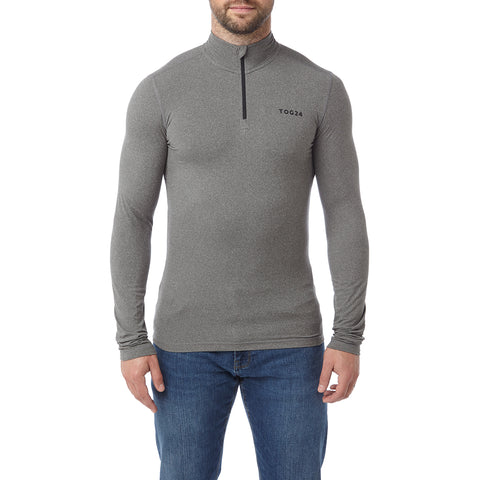 Fixby Mens Thermal Zipneck - Grey Marl