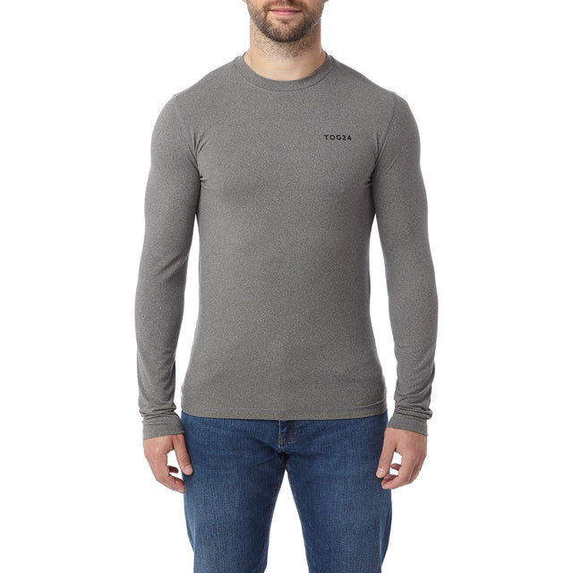 Fixby Mens Thermal Crew Neck - Grey Marl image 2