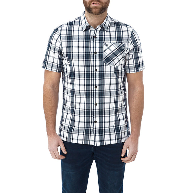 Fulford Mens Short Sleeve Performance Check Shirt - French Navy image 2