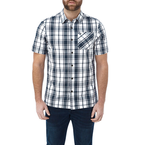 Fulford Mens Short Sleeve Performance Check Shirt - French Navy