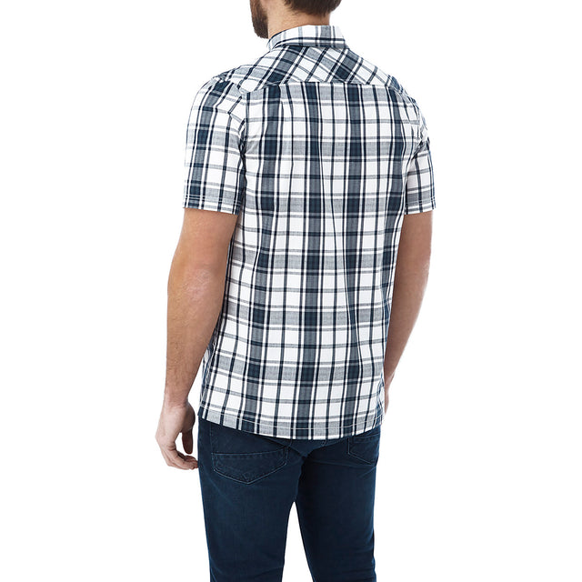 Fulford Mens Short Sleeve Performance Check Shirt - French Navy image 3