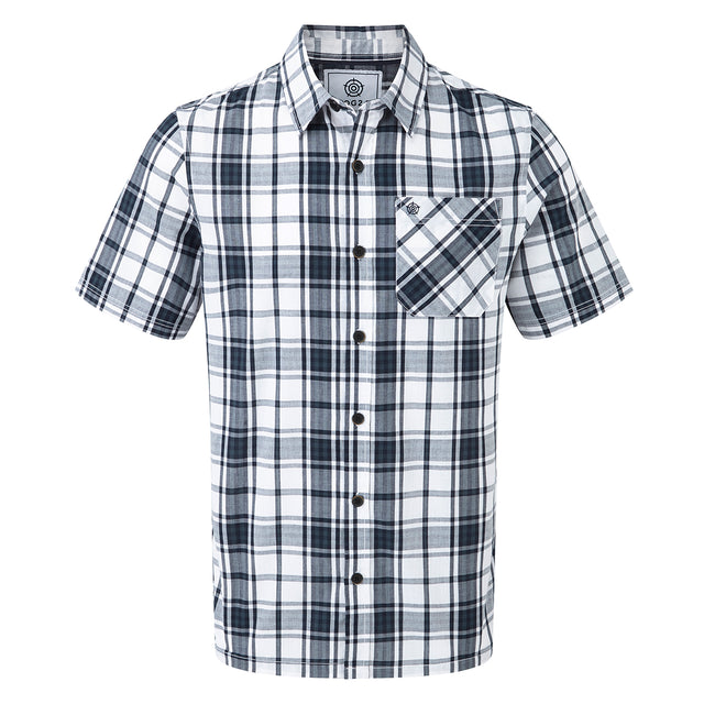 Fulford Mens Short Sleeve Performance Check Shirt - French Navy image 1