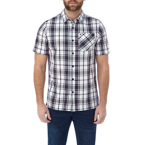 Fulford Mens Short Sleeve Performance Check Shirt - Deep Port
