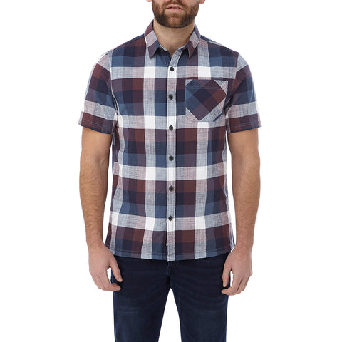 Haltby Mens Short Sleeve Slub Check Shirt - Deep Port