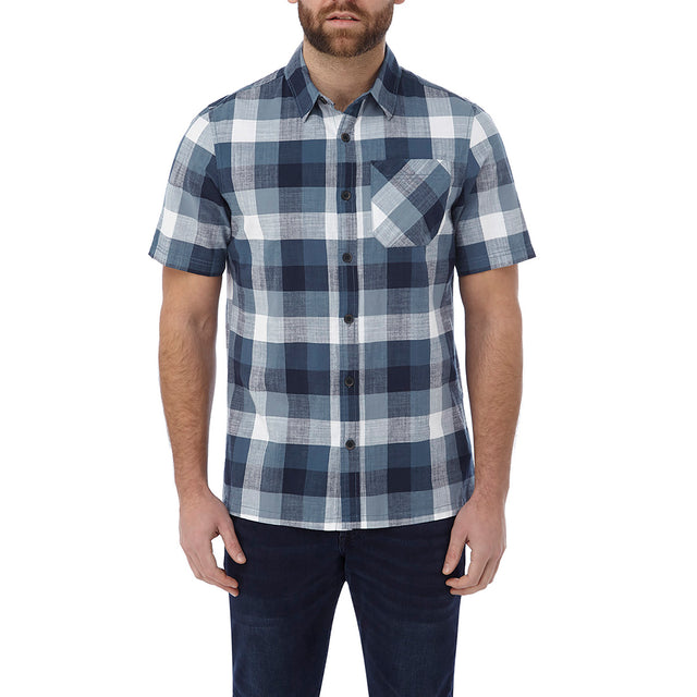 Haltby Mens Short Sleeve Slub Check Shirt - French Navy image 2
