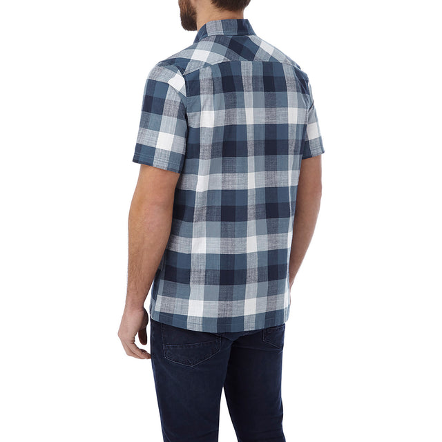Haltby Mens Short Sleeve Slub Check Shirt - French Navy image 3
