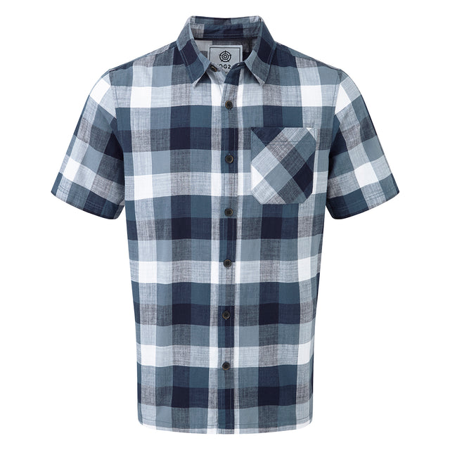 Haltby Mens Short Sleeve Slub Check Shirt - French Navy image 1