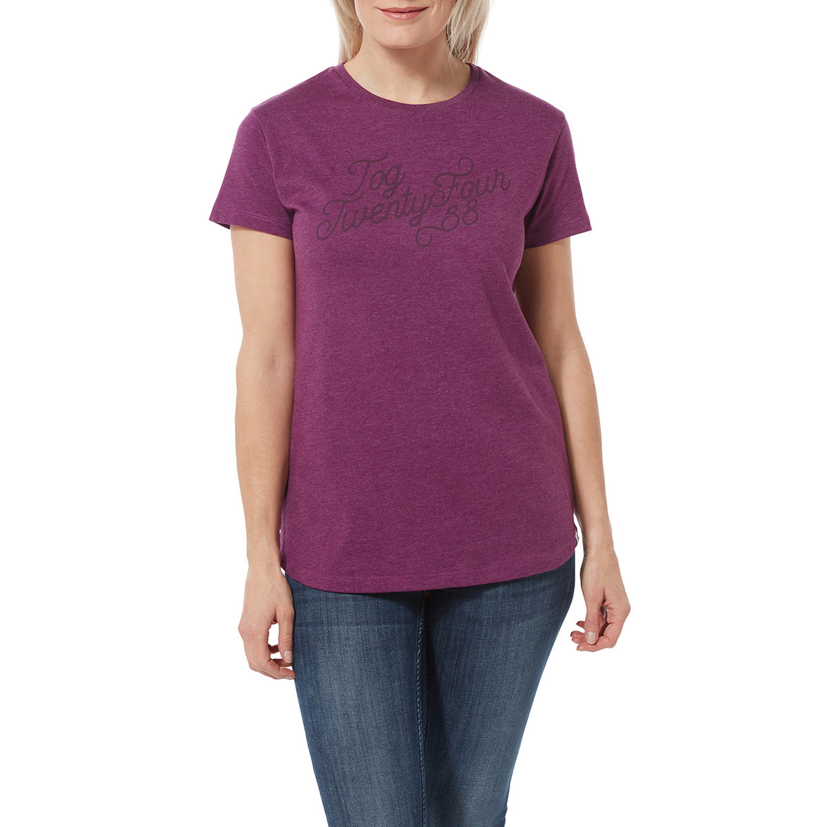Harome Womens Graphic T-Shirt Curly - Mulberry Marl