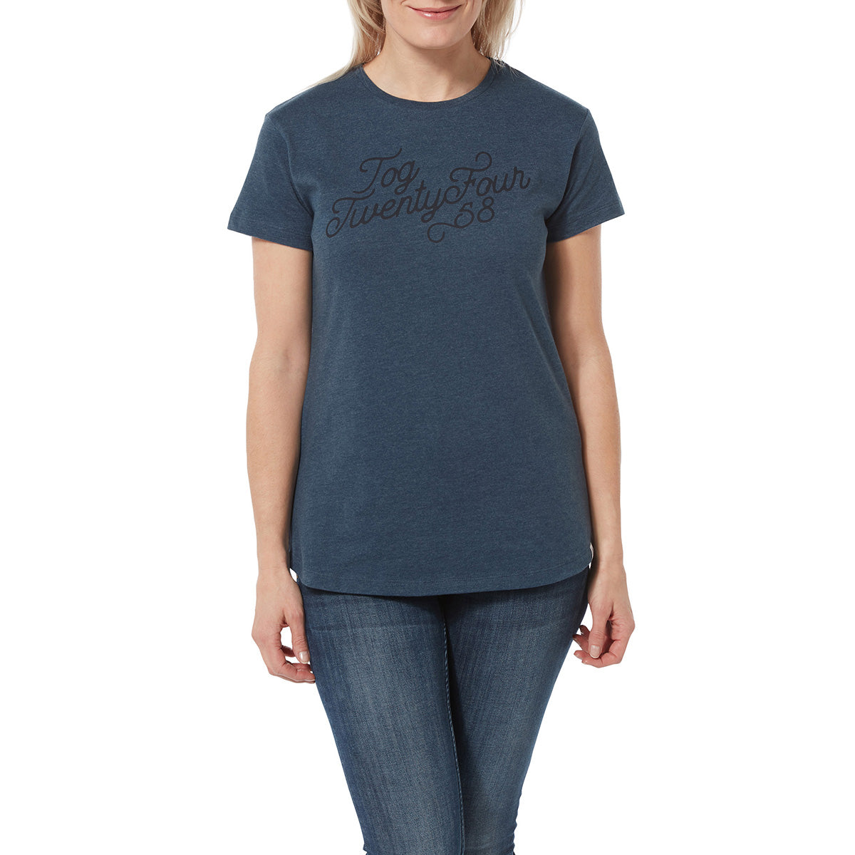 Harome Womens Graphic T-Shirt Curly - Denim Marl