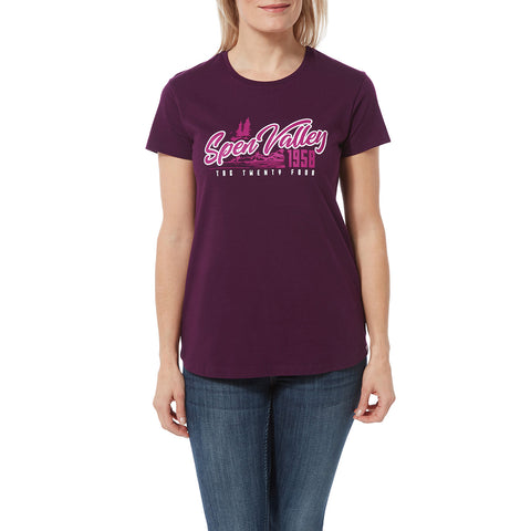 Harome Womens Graphic T-Shirt Valley - Aubergine