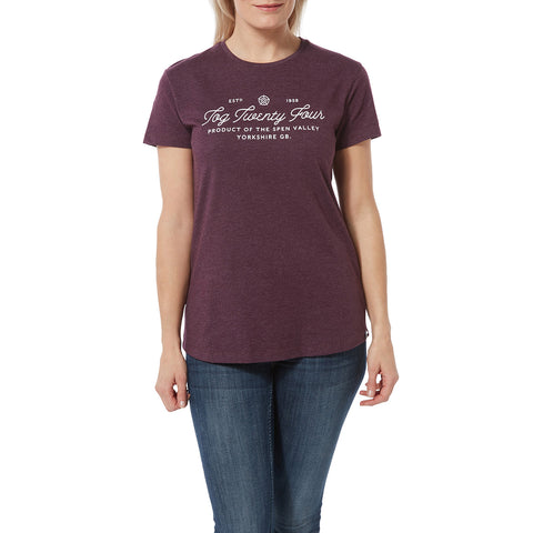 Harome Womens Graphic T-Shirt Script - Aubergine Marl