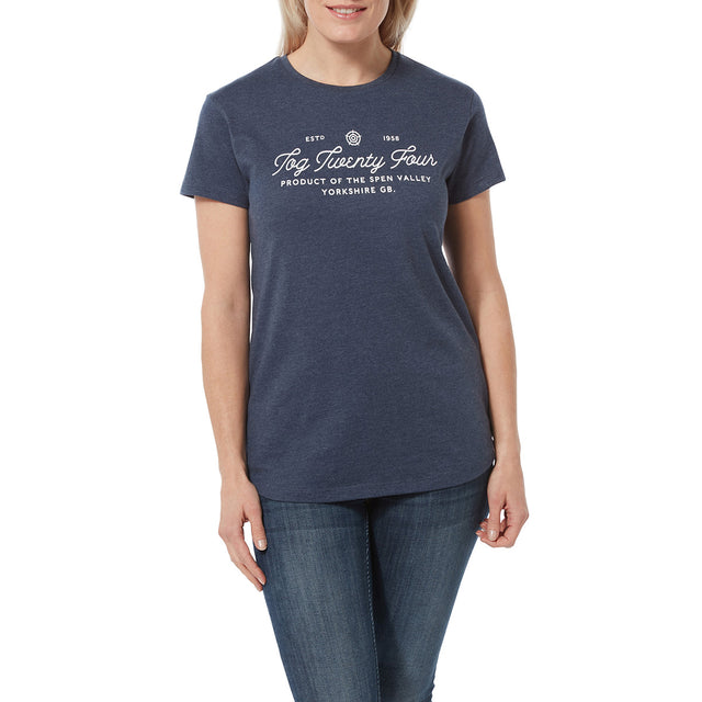 Harome Womens Graphic T-Shirt Script - Naval Marl image 2