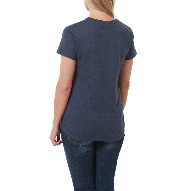 Harome Womens Graphic T-Shirt Script - Naval Marl image 3