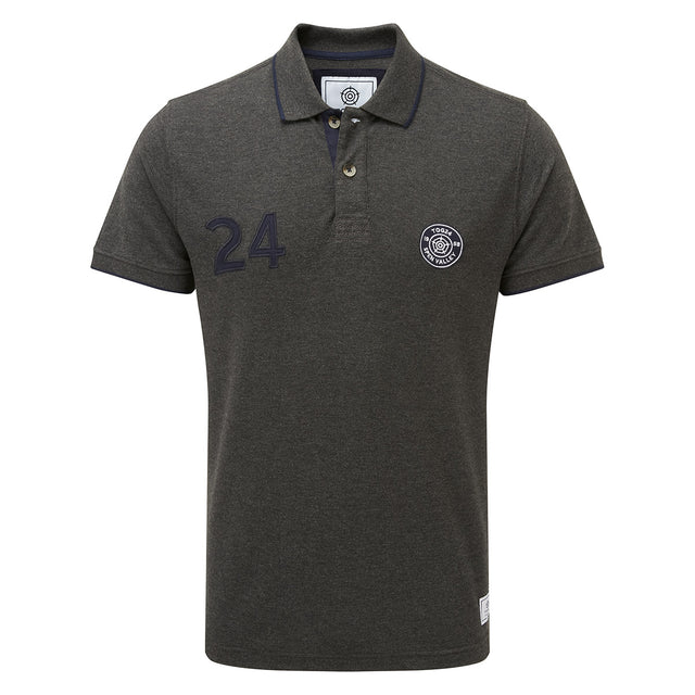Hebble Mens Pique Polo Shirt - Dark Grey Marl image 3