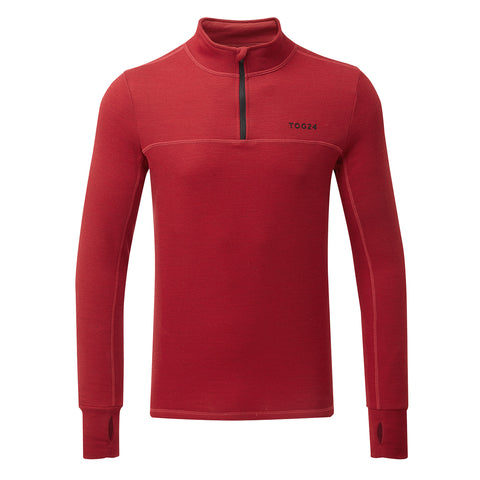 Hebden Mens Merino Zip Neck - Chilli