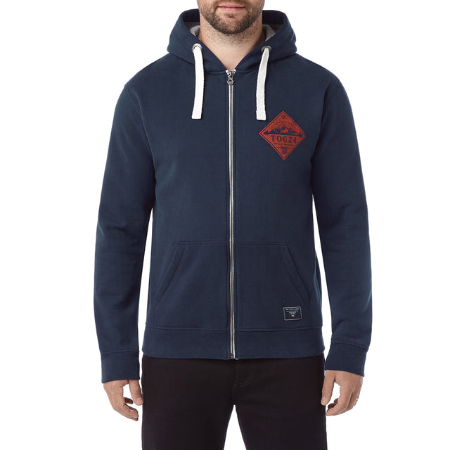 Hetton Mens Zip Hoody Diamond - Navy image 2
