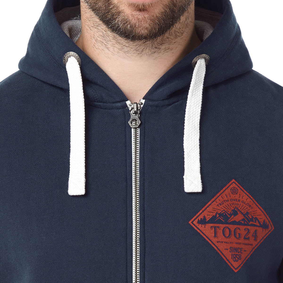 Hetton Mens Zip Hoody Diamond - Navy image 4