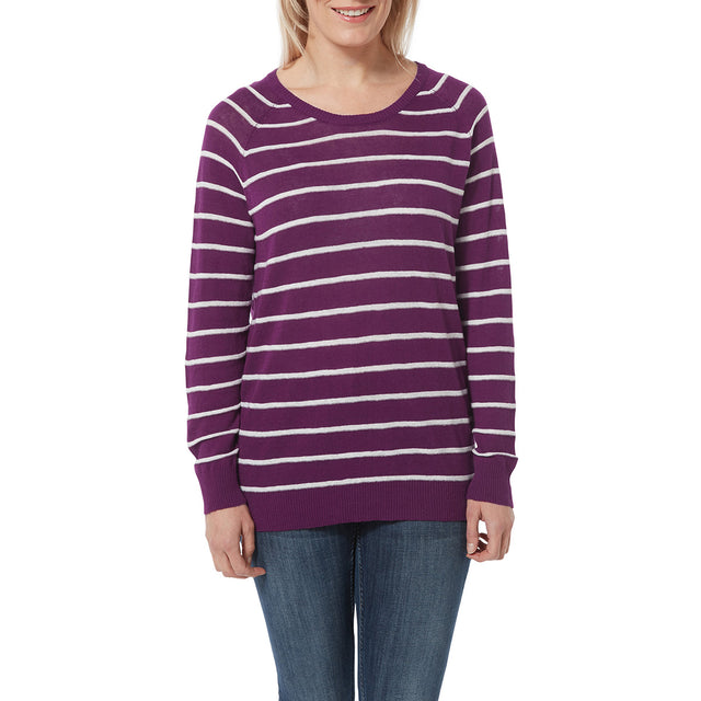 Hicks Womens Linen Cotton Stripe Crew Neck Jumper - Mulberry image 2
