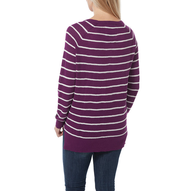 Hicks Womens Linen Cotton Stripe Crew Neck Jumper - Mulberry image 3