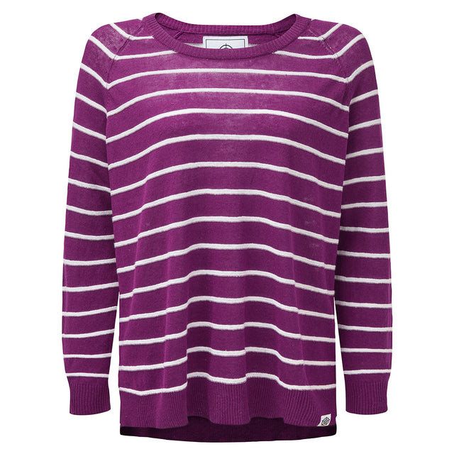 Hicks Womens Linen Cotton Stripe Crew Neck Jumper - Mulberry image 1
