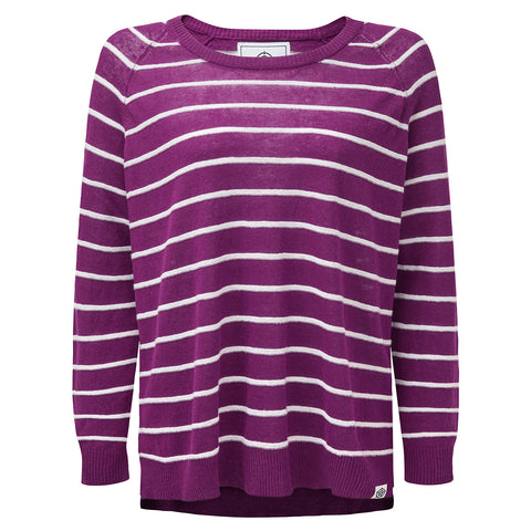 Hicks Womens Linen Cotton Stripe Crew Neck Jumper - Mulberry