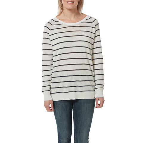 Hicks Womens Linen Cotton Stripe Crew Neck Jumper - White