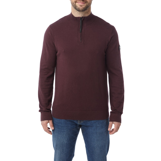 Holmes Mens Cashmere Mix Zip Neck Jumper - Deep Port image 2