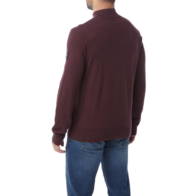 Holmes Mens Cashmere Mix Zip Neck Jumper - Deep Port image 3