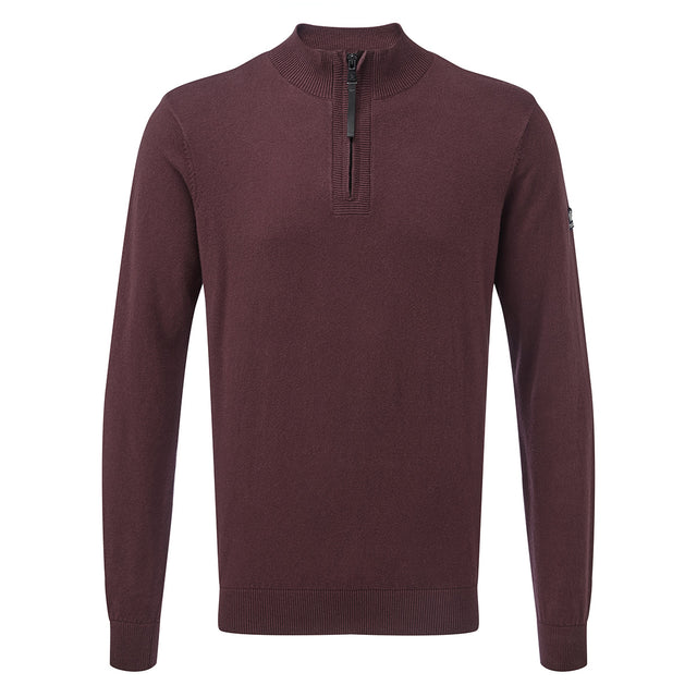 Holmes Mens Cashmere Mix Zip Neck Jumper - Deep Port image 1