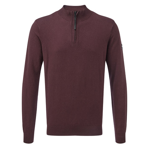 Holmes Mens Cashmere Mix Zip Neck Jumper - Deep Port