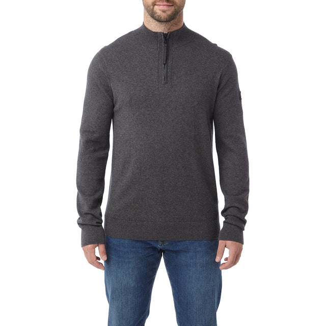Holmes Mens Cashmere Mix Zip Neck Jumper - Dark Grey Marl image 2