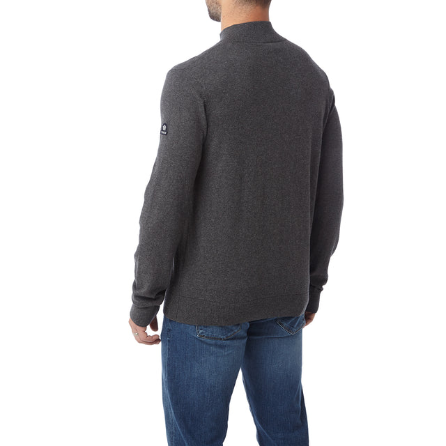 Holmes Mens Cashmere Mix Zip Neck Jumper - Dark Grey Marl image 3