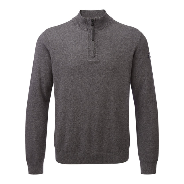Holmes Mens Cashmere Mix Zip Neck Jumper - Dark Grey Marl image 1