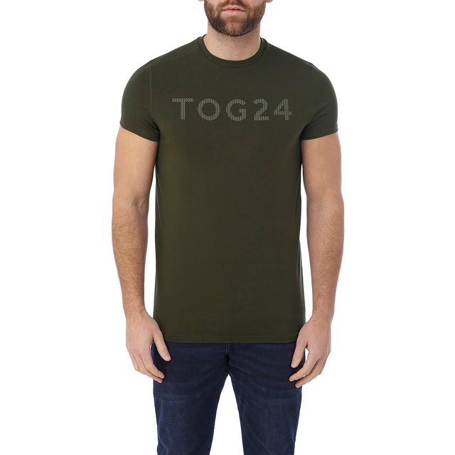 Hutton Mens Performance Graphic T-Shirt - Dark Khaki image 2