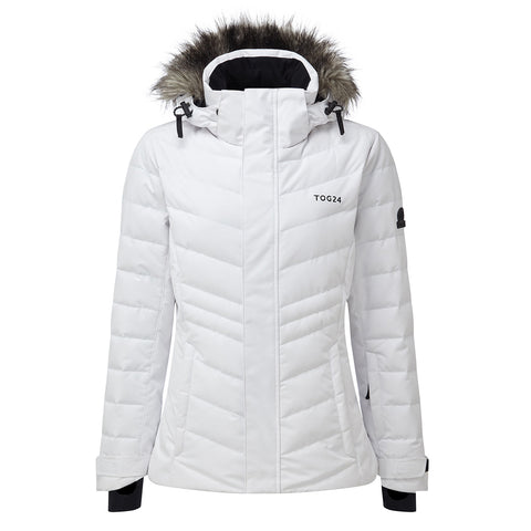 Kirby Womens Down Filled Ski Jacket - White