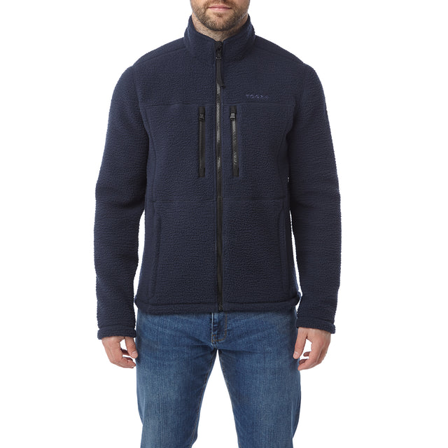 Leonard Mens Sherpa Fleece Jacket - Navy image 2