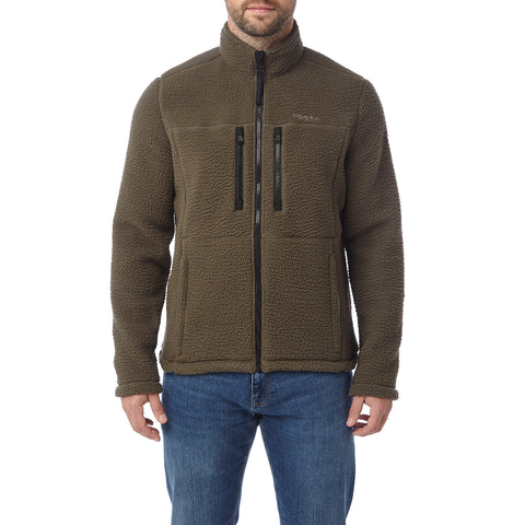 Leonard Mens Sherpa Fleece Jacket - Dark Khaki